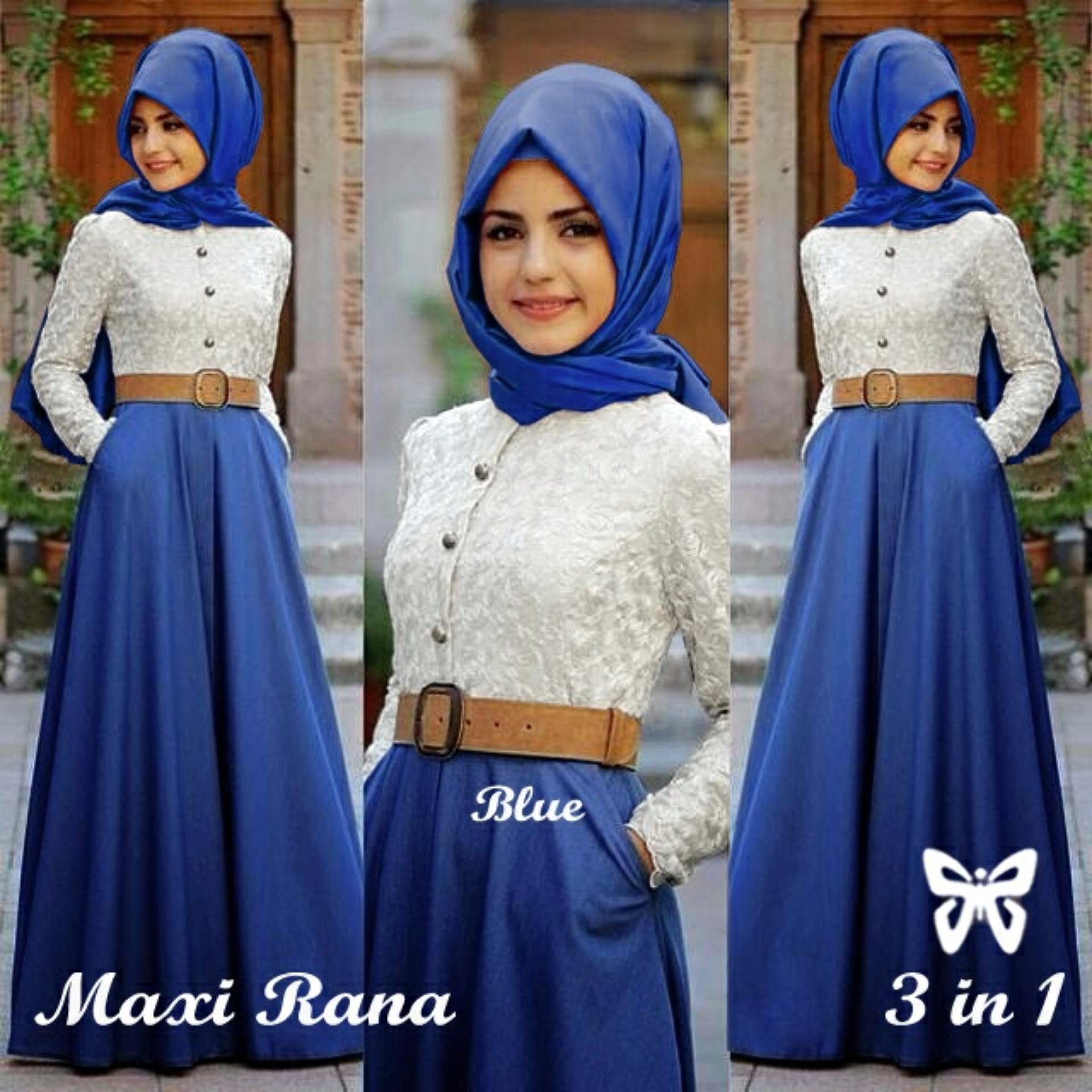 Flash Sale Trend Baju - Hijab Brukat Lapis Furing Uk L - Blue