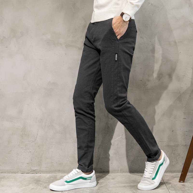 Cheap online Trendi Pria Korea Fashion Style Laki-laki Keelastikan Celana  Pria Muda Slim Lurus Celana Kasual (Mencuci air abu-abu gelap 6682-101) 515340a3d5