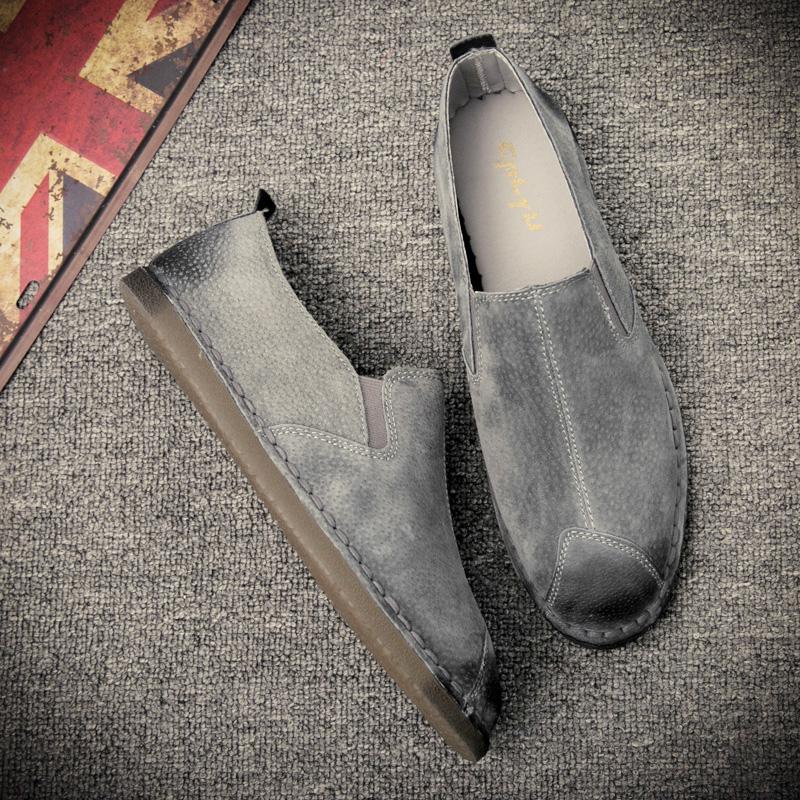 Trendi Pria Kulit Pria Sepatu Trendi Musim Gugur Sepatu Kulit Abu abu Bagian