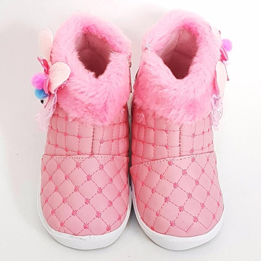 TrendiShoes Sepatu Boot Anak Perempuan Boneka Bulu BLBNK - Pink .