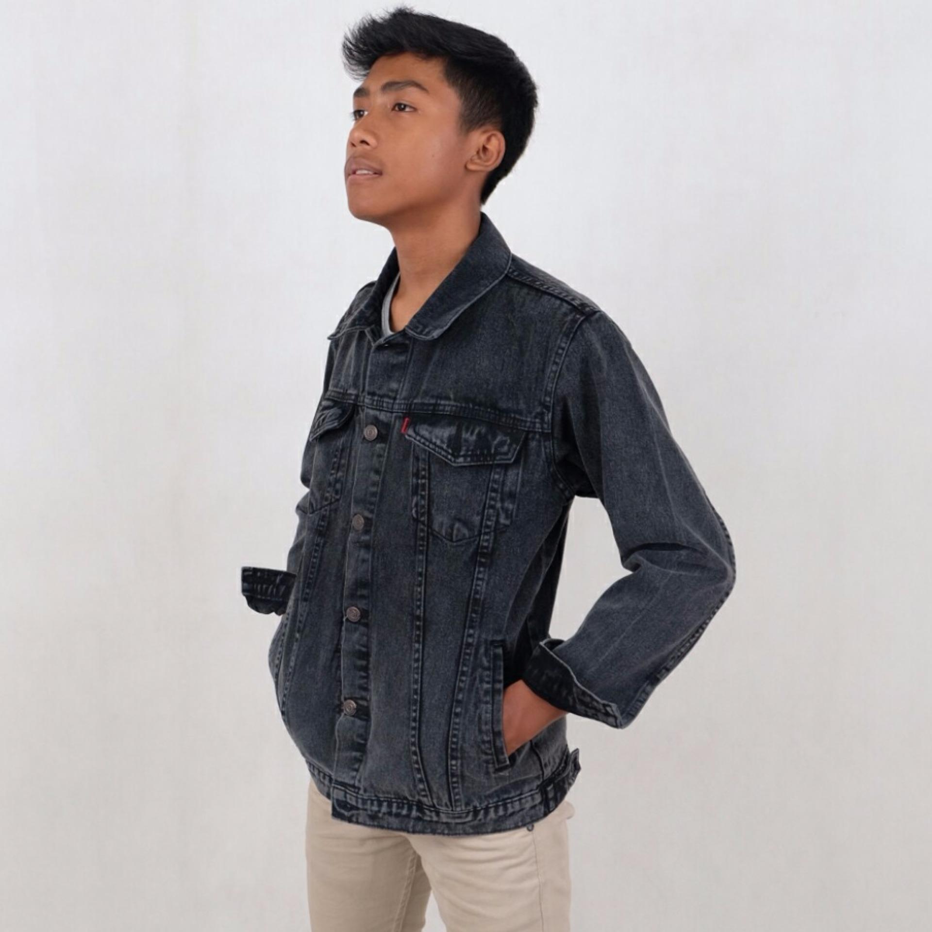 Harga Penawaran Trucker Jaket Jeans Denim Pria Send Wash Abu Best Biru Muda Seller