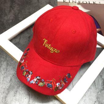 Belanja murah Tuan kepribadian perempuan bordir topi baseball cap topi ( Merah) Harga Terendah