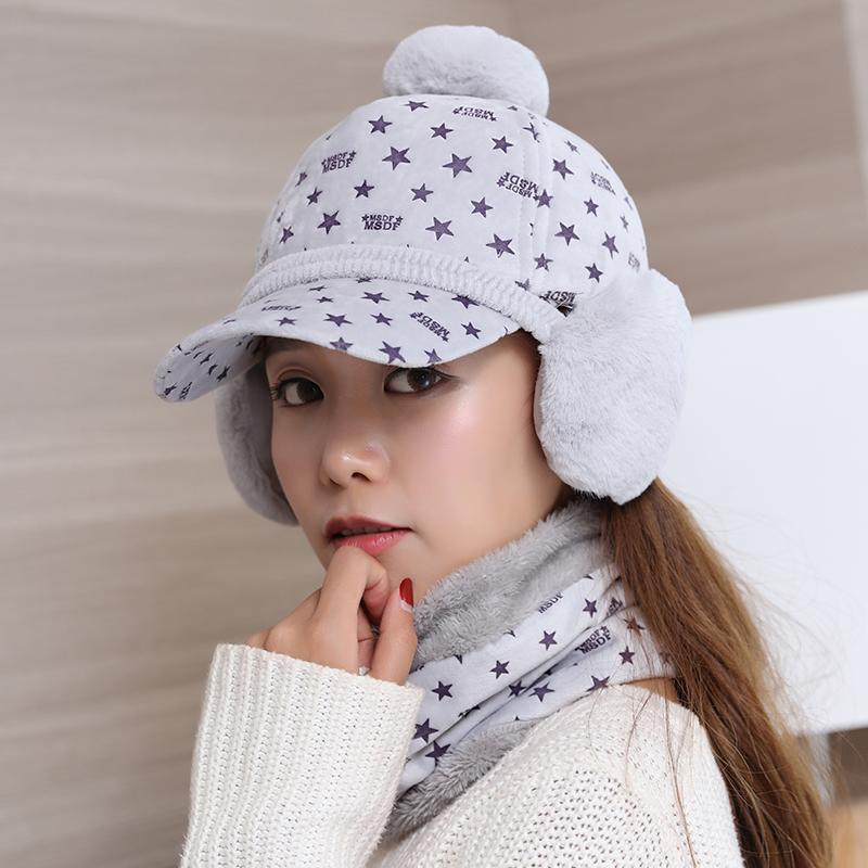 Flash Sale Tuan Korea Fashion Style perempuan musim dingin bintang topi topi topi baseball (Abu-abu terang)
