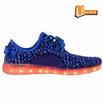 Ubuy LED Light Lace Up Sepatu Luminous Sportswear Sneaker Luminous Unisex Sepatu Casual (biru) - 3