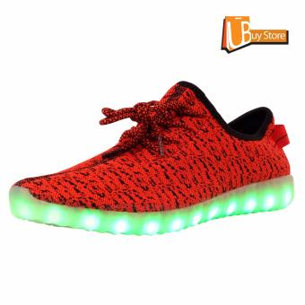 Ubuy LED Light Lace Up Sepatu Luminous Sportswear Sneaker Luminous Unisex Sepatu Casual (merah)