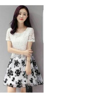 harga UC Dress Bunga / Gaun Wanita / Dress Flower brukat / Baju Dress / Hongkong Dress / Dress Stylist NR - Putih - A0088 - korea Lazada.co.id