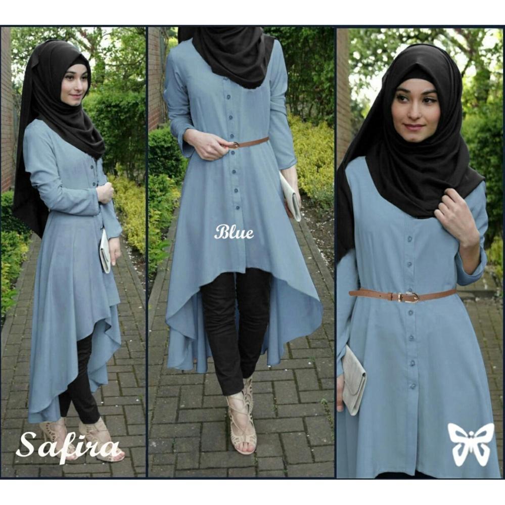 Baju Syar39i Safira Blue Terbaru Muslim Gamis Koko Modern 11