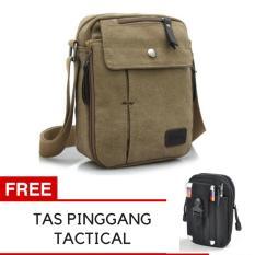 Uncle Star Men Messenger Bag Canvas Vintage Shoulder Bag / Tas Slempang Pria UCS04 - Coklat Muda + Gratis Tas Pinggang