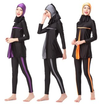 Unique Design Hidden Tummy Womens' Modest Muslim Burkini 3-PiecesHindu Jewish Hijab Swimsuit Islam Lady Swimwear XS-XXXL(Purple) -intl
