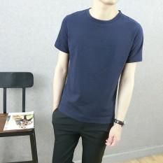Versatile fabric solid color summer T-shirt (Biru tua)
