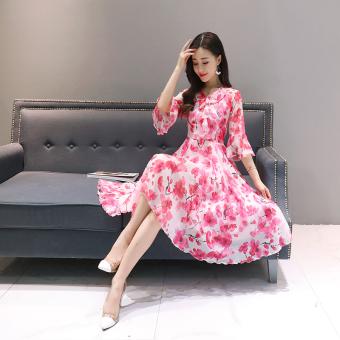 Anggaran Terbaik Versi Korea adalah temperamen tipis tanduk lengan bagian panjang rok sifon bunga gaun (
