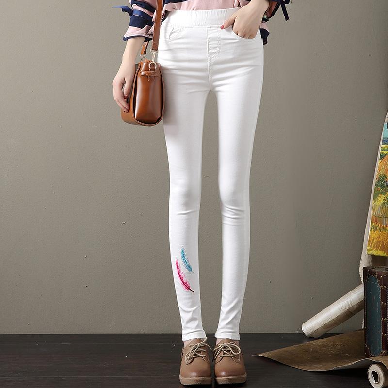 Versi Korea bordir perempuan baru celana pensil pinggang tinggi celana jeans stretch (Putih)