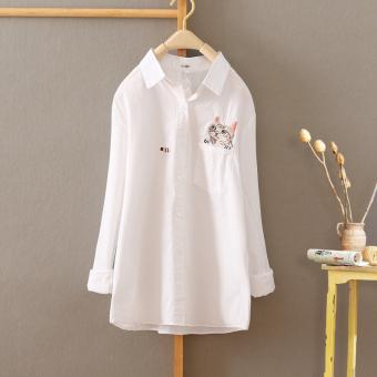 ... Belanja Terbaik Versi Korea bordir perempuan musim semi dan musim gugur lengan panjang t shirt