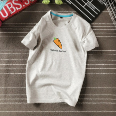 Versi Korea dari buah dicetak lengan pendek penuh kasih kemeja t-shirt (Wortel lengan