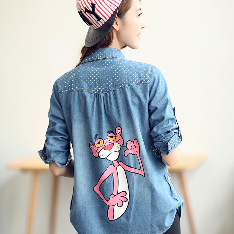Versi Korea dari denim bagian panjang dari musim semi dan musim gugur kemeja kemeja pakaian (