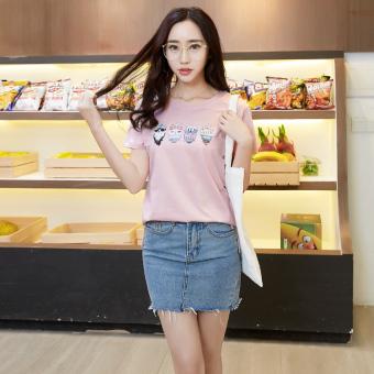 Bandingkan Toko Versi Korea dari kapas bambu leher bulat perempuan kemeja longgar lengan pendek t-