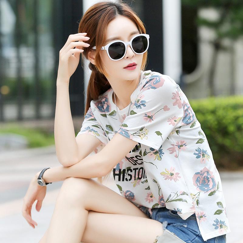 Versi Korea dari kapas baru longgar t-shirt cetak t-shirt (6353 gambar