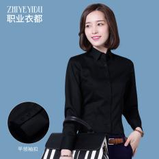 Versi Korea dari kapas perempuan lengan panjang kemeja karir kemeja putih ( Hitam) (Hitam