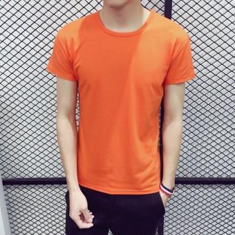 Gambar Versi Korea dari katun hitam pria halter tops t shirt (Oranye Merah)