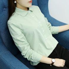 Versi Korea dari katun putih lengan panjang kemeja kemeja perempuan perempuan (Warna solid kacang hijau