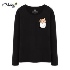 Versi Korea dari katun putih perempuan lengan panjang kemeja t-shirt (Hitam (ceria