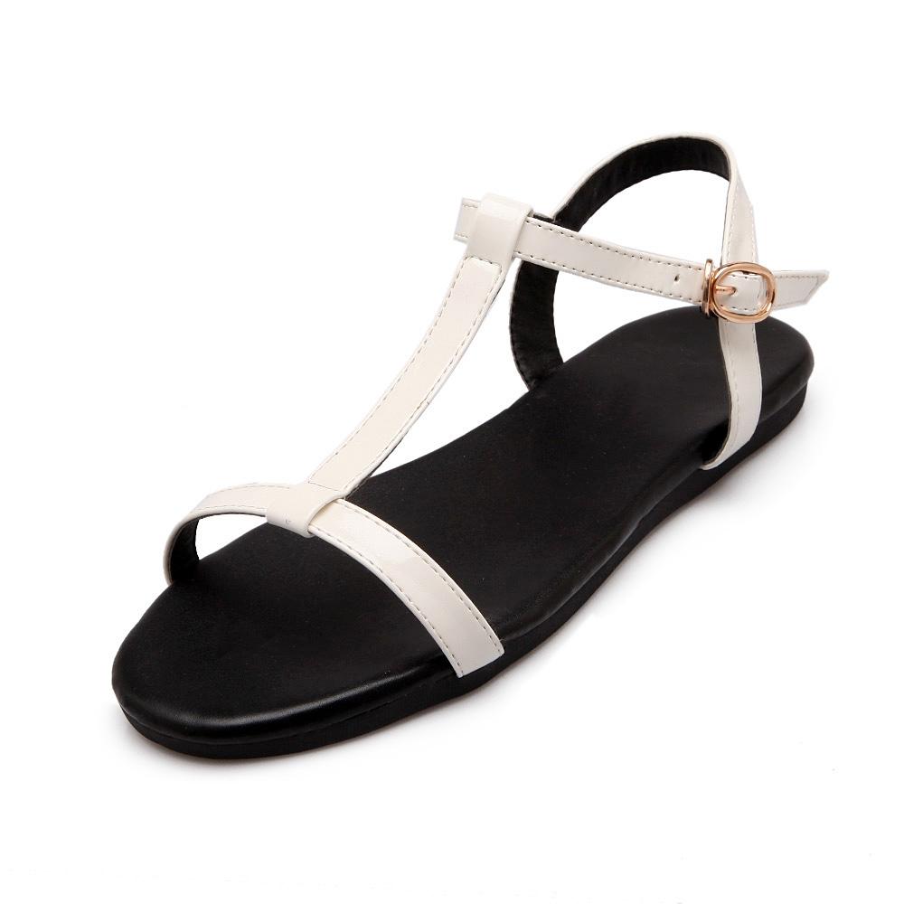 Daftar Harga Versi Korea Dari Kulit Paten Putih Tali Hitam Sandal Romawi Sepatu