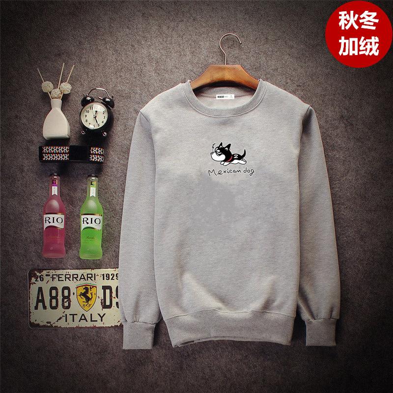 ... Versi Korea dari musim gugur leher bulat sweater Kecil Husky abu abu leher bulat