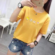 Versi Korea dari musim semi dan longgar lengan pendek t-shirt (Coklat kekuningan)
