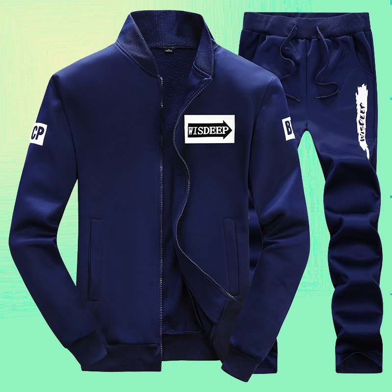 Cheap online Versi Korea dari musim semi dan musim gugur olahraga kasual (819 biru tua jas)