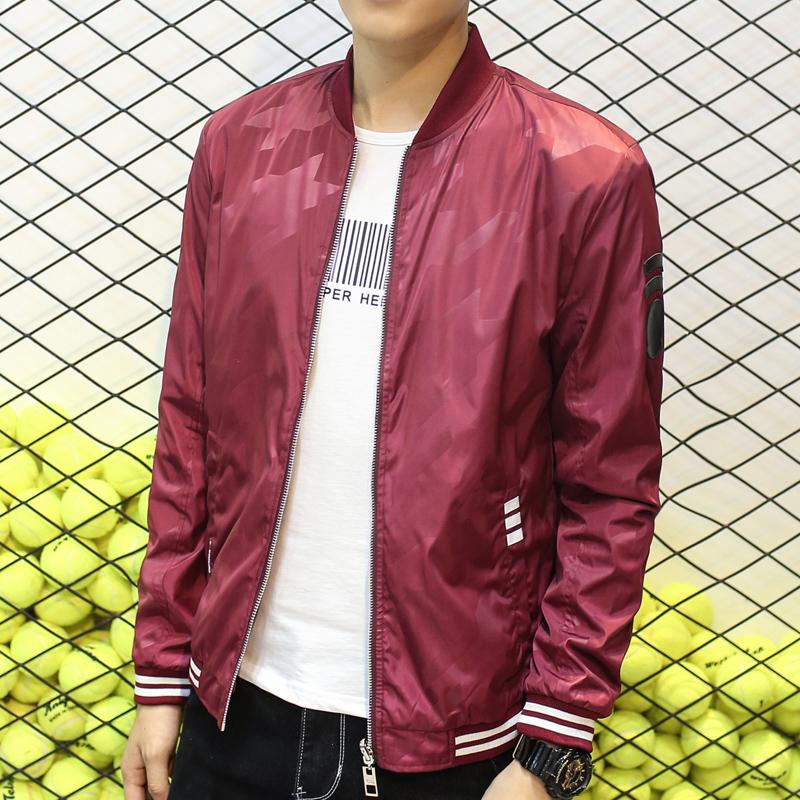 Versi Korea dari musim semi dan musim gugur remaja Slim bagian tipis jaket  (Merah anggur c063277db8