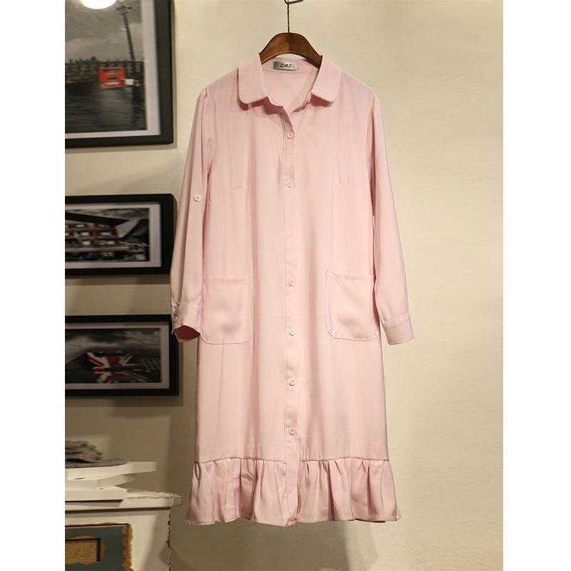 Flash Sale Versi Korea dari persediaan perempuan lengan panjang bagian panjang gaun merah muda kemeja (Merah muda)