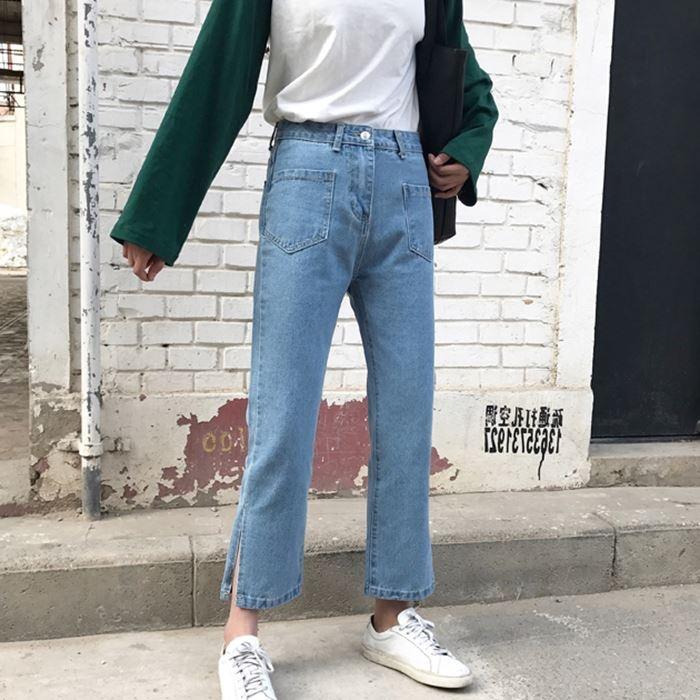 Flash Sale Versi Korea dari pinggang tinggi baru celana jeans biru muda ( Biru)
