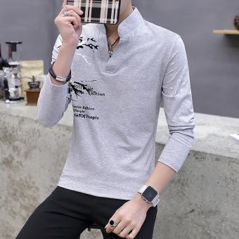 Gambar Versi Korea dari pria Slim polo shirt cetak musim gugur lengan panjang t shirt (