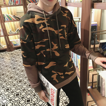 Versi Korea dari pria ukuran besar palsu dua kemeja pullover sweater (Kopi lengan kamuflase)