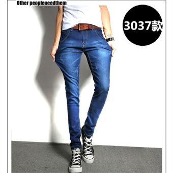 Gambar Versi Korea dari remaja kulit hitam stretch celana panjang celana panjang musim gugur celana jeans