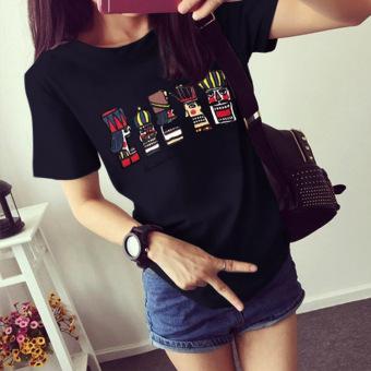 Harga Terendah Versi Korea dari wanita ukuran besar kemeja longgar lengan pendek t-shirt (Hitam) Terbaik Murah