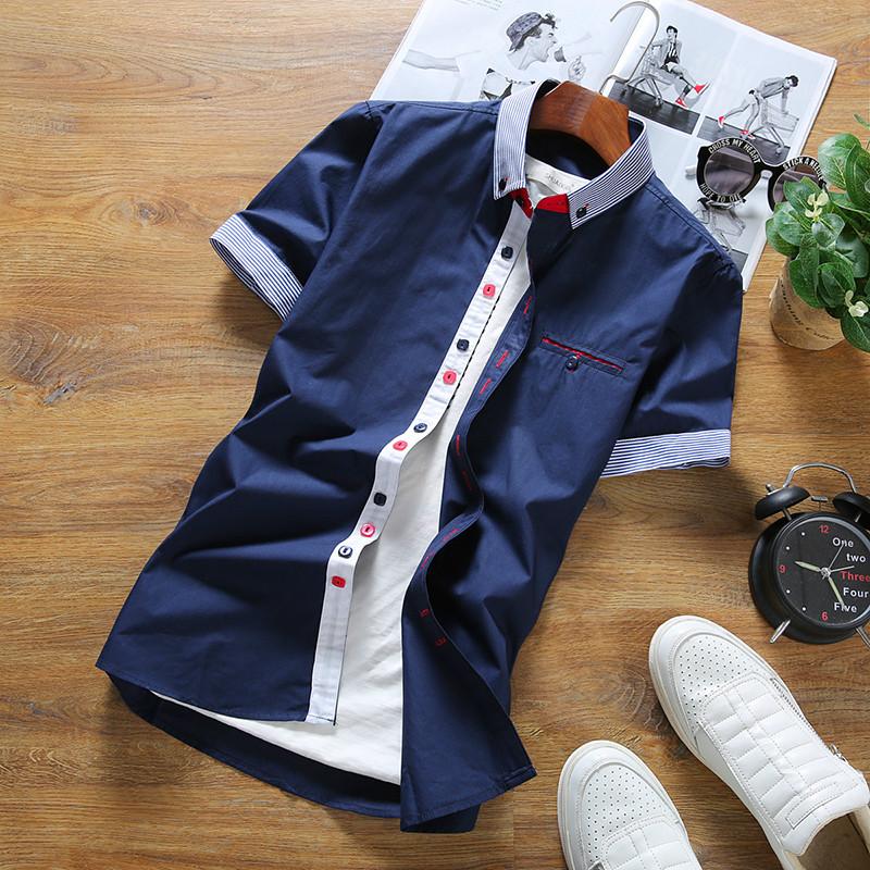 Versi Korea dari warna solid pria kemeja Slim lengan pendek kemeja (339CS30 biru tua)