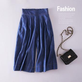 Bandingkan Simpan Versi Korea musim panas bagian tipis tipis lebar kaki celana denim celana (Biru