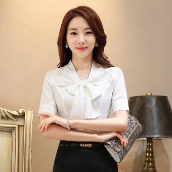 Gambar Versi Korea musim panas baru kemeja pita (Kemeja putih) (Kemeja putih )