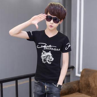 Gambar Versi Korea musim panas baru siswa penuh kasih kemeja v neck t shirt (Lengan