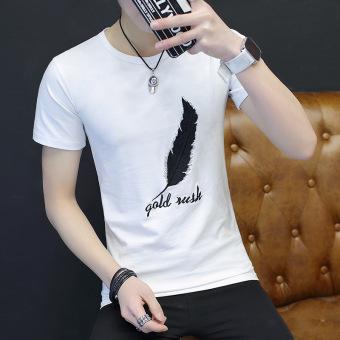Gambar Versi Korea musim panas laki laki lengan pendek baru t shirt (Bulu putih lengan