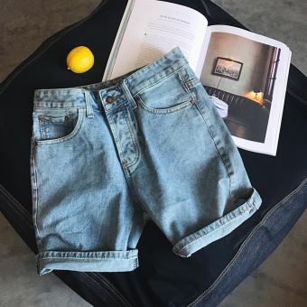 Versi Korea musim panas pria dicuci celana pendek denim (Cahaya biru)