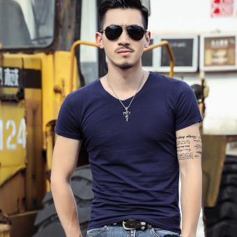 Gambar Versi Korea musim panas pria lengan pendek Slim v neck t shirt (V neck