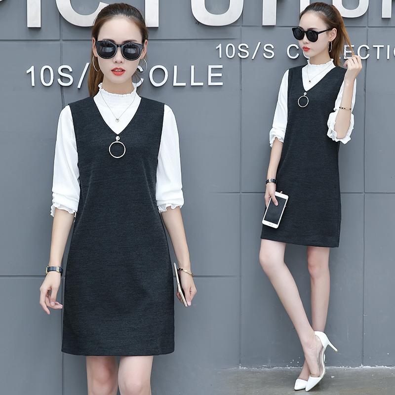 ... Wanita Source · Reyn Shop Tunic Kidi Dress Hitam Baju Source Versi Korea perempuan lengan panjang baru Slim dress