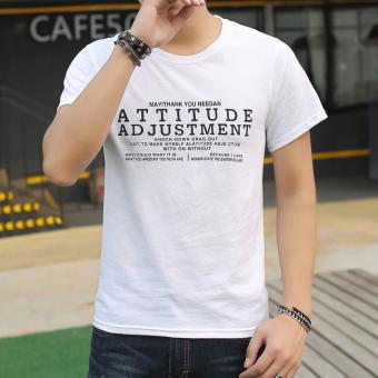 Gambar Versi Korea putih leher bulat longgar lengan pendek t shirt (Putih att)