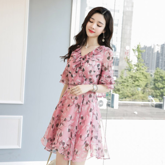 Anggaran Terbaik Versi Korea wanita baru adalah rok sifon tipis gaun flouncing (Merah muda)