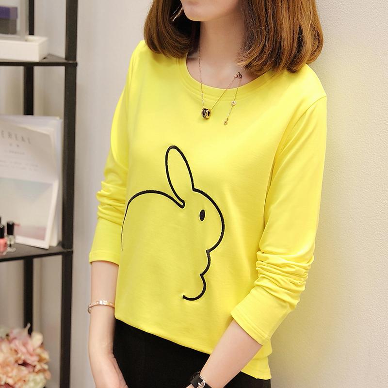 Versi Korea yang baru lengan panjang t-shirt (Kuning)