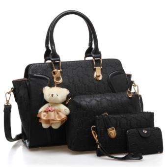 Vicria 4in1 Tas Branded Wanita - High Quality PU Leather Korean Elegant Bag Style With Bear