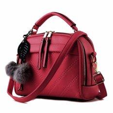 Vicria Tas Branded  Wanita With Pompom - High Quality PU Leather Korean Elegant Bag Style - Merah