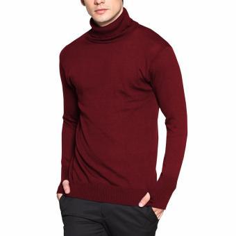 VM Sweater Rajut Polos panjang Krah Tinggi Merah Maroon